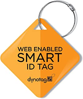Dynotag Web Enabled Smart ID Tag, Delue Steel tag with Braided Steel Loop, with DynoIQ & Lifetime Recovery Service. Diamond (Orange Split)