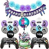 PAWT Artículos de Fiestas para Fanáticos de los Videojuegos Decoraciones para Cumpleaños de Tema de Videojuegos con Globos Cake Toppers para Decoraciones