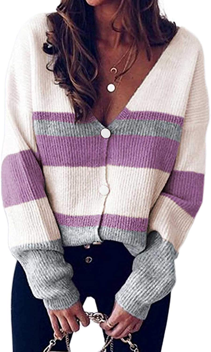 Happy Sailed Womens Striped Colorblock Cardigan Long Sleeve Button Down Casual Knit Sweaters Coat Soft Outwear S-XXL