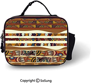 Tribal Leakproof Reusable Insulated Cooler Lunch Bag Traditional African Folk with Cultural Featured Trippy Icons Boho Abstract Design Decorative Picnic Hiking Beach Lunch bag,10.6×8.3×3.5 inch,Multic