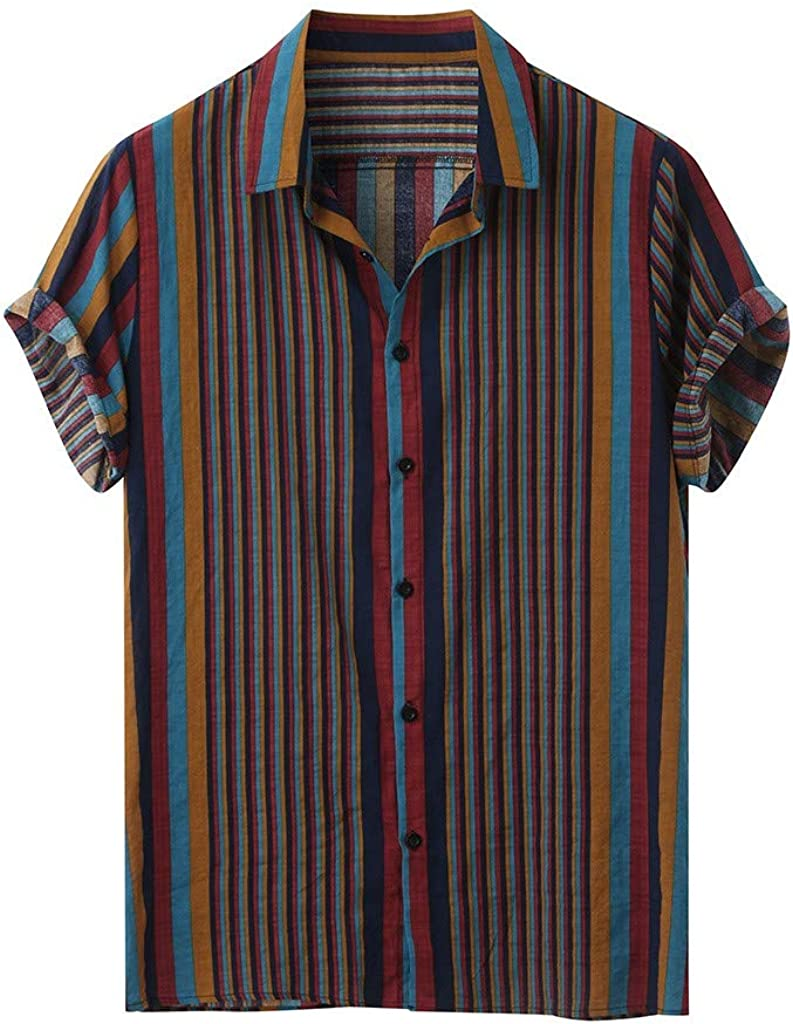 Holzkary Men's Hipster Lightweight Slim Tees Short Sleeve Casual Printed Hawaiian Button Down Shirt