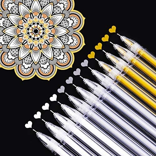 Dyvicl White Gold Silver Gel Pens 0 5 mm Extra Fine Point Pens Gel Ink Pens for Black Paper product image
