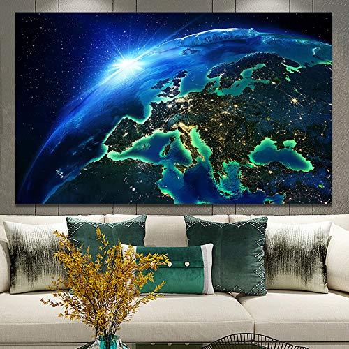 BuhuAZXM Moderne poster print muurkunst canvas schilderkunst aarde nachtscène decoratieve schilderijen voor woonkamer 50x75cm Geen frame.