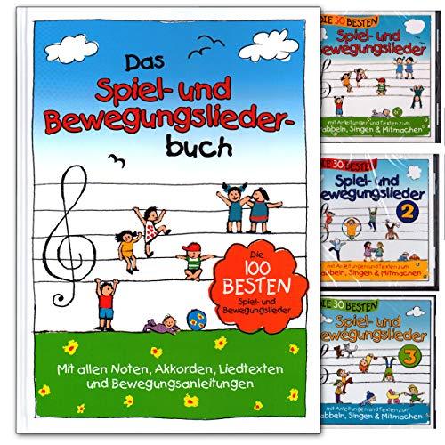 Das Spiel- und Bewegungsliederbuch - die 100 besten Spiel- und Bewegungslieder - Empfohlen von 0 bis 8 Jahren - Buch (gebunden) mit 3 CDs
