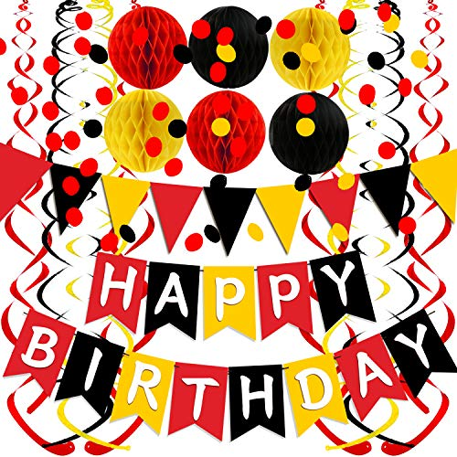 FECEDY Yellow Black Red Happy Birthday Banner with Paper Flag Bunting Paper Circle Confetti Garland Swirl Streamers Honeycomb Ball for Birthday Party