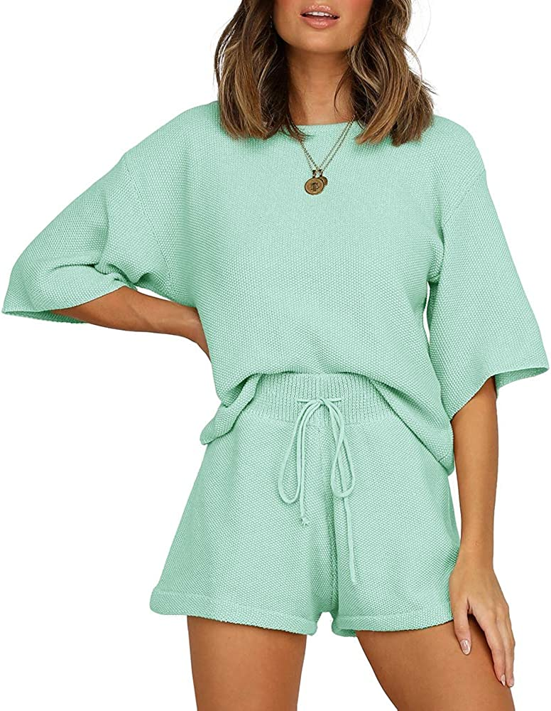 JOYCHEER Womens Two Piece Popular standard Outfits 3 4 Knit Solid Sleeve Super Special SALE held Rompers