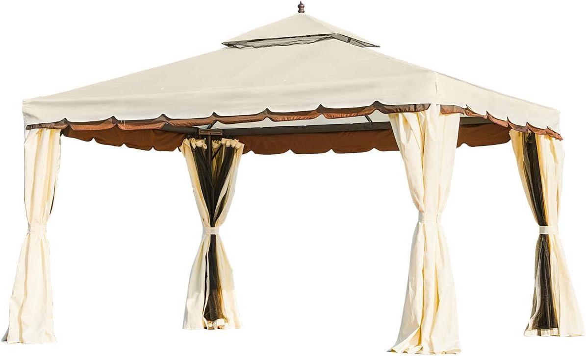 Erommy 10' x 12' Outdoor Gazebo Roof Pat Double Award Cheap Canopy
