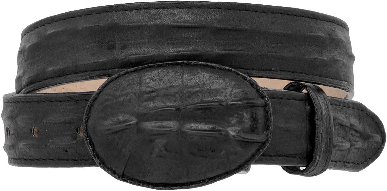 Kids Black Western Cowboy Belt Crocodile Print Leather Rodeo Buckle