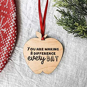 You Are Making A Difference Wooden Apple Christmas Ornament for Teachers