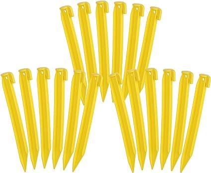 com-four® Piquetas de plástico 18x - Anclajes de Suelo para Camping y Actividades al Aire Libre - 22 cm