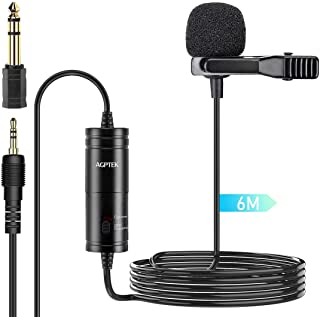 Lavalier Microphone, 236 in Clip on Lavalier Lapel Mic with Omnidirectional Condenser for Podcast, Recording,Camera, DSLR, iPhone, Android, PC, Interview by AGPTEK