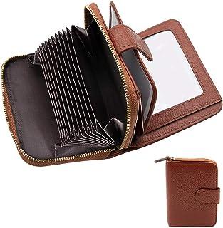 Tarjetero para Tarjetas de Crédito,RFID Titular de la Tarjeta de Crédito de Cuero con Cremallera para Muje y Hombre (marrón)