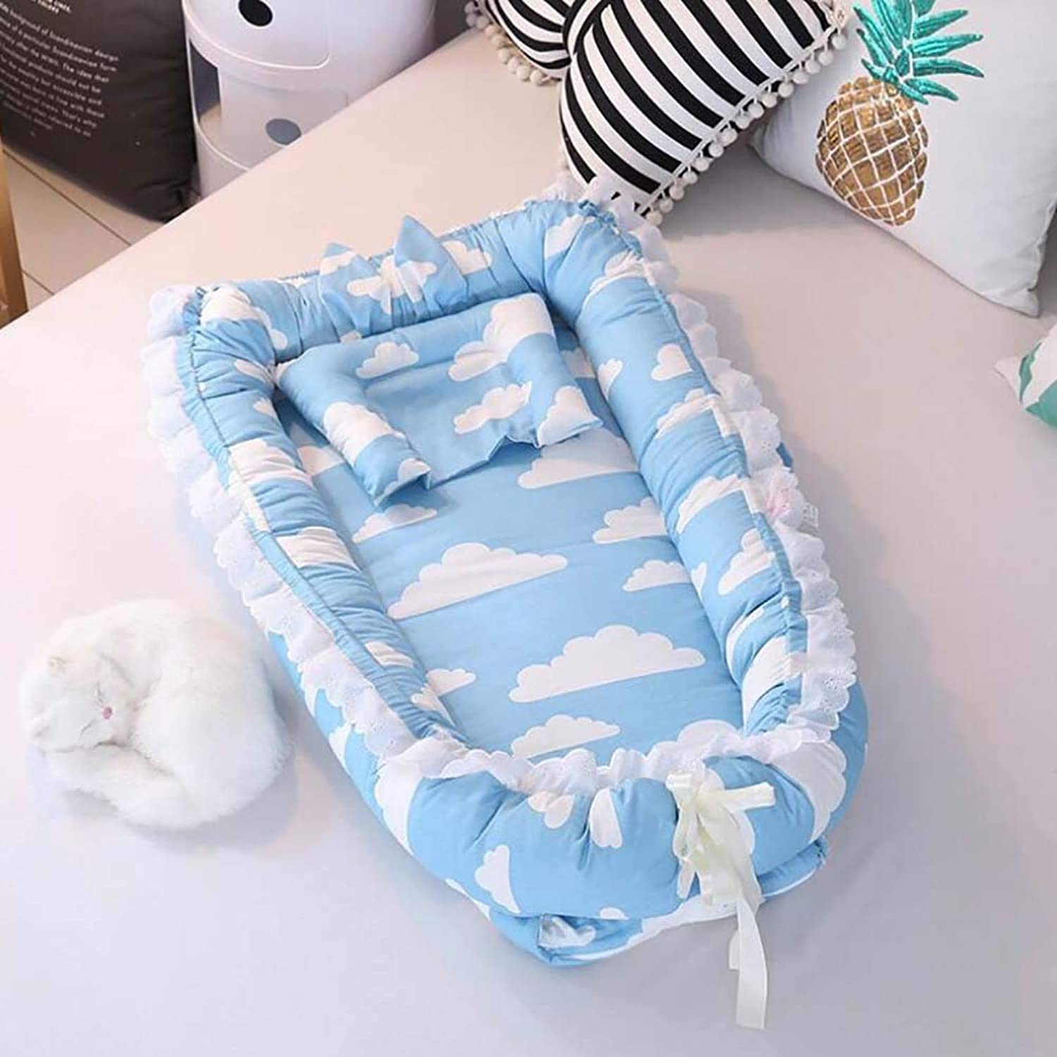 Baby Cot Removable and Washable Baby Isolation Bed Cotton Newborn Bionic Bed Removable and Washable Suitable for Baby from 0 to 24 Months,E
