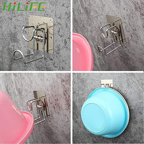 QAZLP Gancho adhesivo para puerta de pared con marco de lavabo de acero inoxidable fuerte pegamento