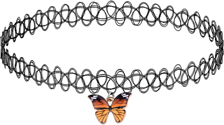 BodyJ4You 2PC Choker Necklace Set Pendant Charm Unicorn Rainbow Sun Butterfly Tattoo Women Girl Teen Kids