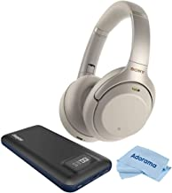 Sony WH-1000XM3 Wireless Bluetooth Noise-Canceling Over-The-Ear Headphones with Mic and Alexa Voice Control, Silver, Bundle with Energizer 20000mAh 3.1Amp Hard ABS LiPo Power Bank, White, Cloth