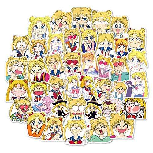 SGOT Aufkleber One Piece Stickers Wasserdicht Vinyl Sailor Moon Stickers Anime Decals für Auto Motorräder Gepäck Skateboard Laptop Aufkleber(40 Stück Sailor Moon)
