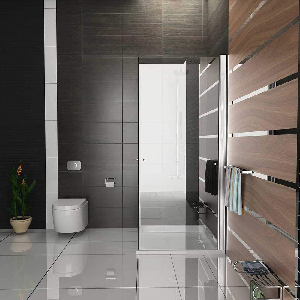 Mampara de ducha de esquina Kage 80 x195 con accesorios de cristal ...