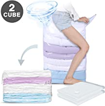 Hi Storage Vacuum Storage 2 PCS Space Saver Bag 1 Cube = 3 Regular Bags (31 x 40 x 15 inch Jumbo) Free Vacuum or Pump Design, Home & Travel Compressed for Pillows, Comforters, Blankets, Clothes
