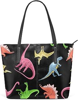 FANTAZIO Handtasche, Schultertasche, farbig, Dinosaurier, Narzisse