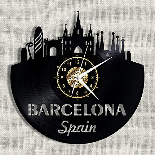 SKYTY Reloj de Pared de Vinilo Capital de Aragón Reino-Barcelona - Atmósfera Retro Silueta Registro Regalo Hecho a Mano Cool Home Art Decor No led 12 Pulgadas