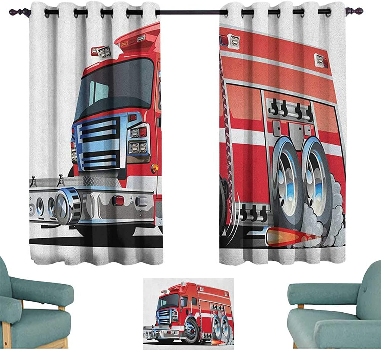 Sanring Cars,Window Curtain for Living Room Big Fire Truck with Emergency Equipments Universal Safety Rescue Team Engine Cartoon 42 X54  Drapes for Kids Living Room