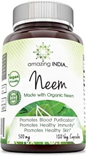 Amazing India Neem(Made with Organic Neem Leaf)500 mg 120 Veggie Capsules (Non-GMO,Gluten Free) Raw, Vegetarian-Plant-Base...