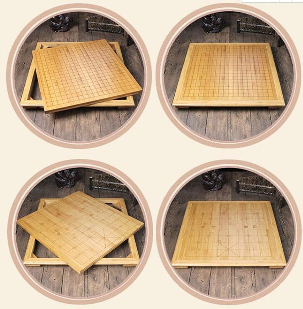 KTDT Go Set, bamboe frame met voet gecarboniseerde schaaktafel bamboe houten schaakbord met nieuwe Yunzi Go schaakset (kleur: B) B