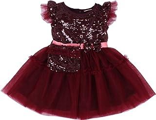 Cutecumber Girls Net Sequin Embellished Burgundy Dress with Sling Bag. CC4768D-BURGUNDY