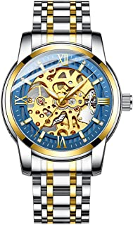 Original Delicate Skeleton Mechanical Watches for Men Automatic Slef-Wind Wrist Watch Luxury Stainless Steel Watch, Luminous Dial, 30M Waterproof