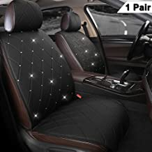 Black Panther 1 Pair Luxury PU Leather Front Car Seat Covers Protectors with Blingbling Rhinestones for Women Girls, Universal Fit 95% of Cars