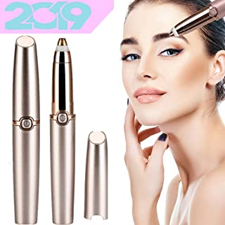 Eyebrow Hair Remover Epilator for Women, Painless Eye brow Trimmer Facial Hair Removal Electric Eyebrow Shaver with LED Light For Good Finishing (Rose Gold)