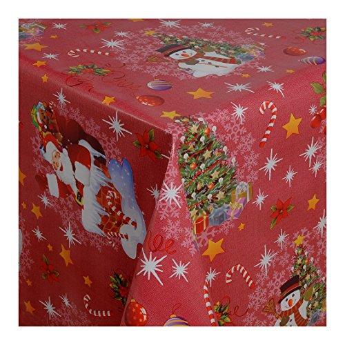 WACHSTUCH Tischdecken Wachstischdecke Gartentischdecke, Abwaschbar Meterware, Länge wählbar, Red Christmas Weihnachtsdecke in Rot (188-03) 140cm x 140cm