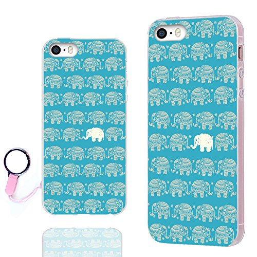 iPhone SE Case,iPhone 5s Case, iPhone 5 Case,ChiChiC [Orignal Series] Full Protective Case Slim Flexible Soft TPU Gel Rubber Cases Cover for Apple iPhone 5 5S SE,Cute Gold Elephant on Teal Background