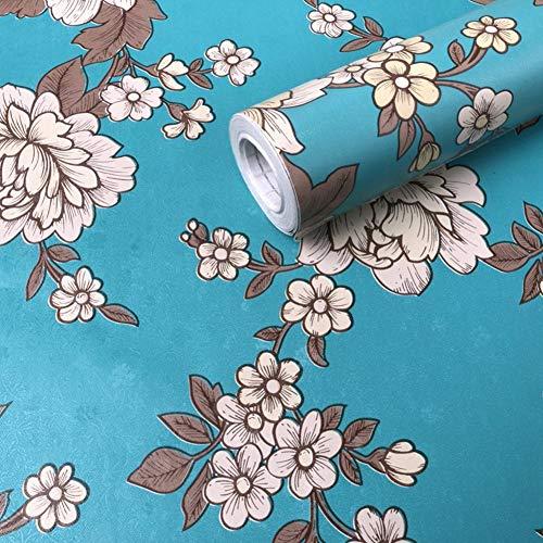 Moyishi 高級 壁紙 花柄 クロス はがせる 防水 壁紙シール 超簡単リフォーム 45cmx2M (青)