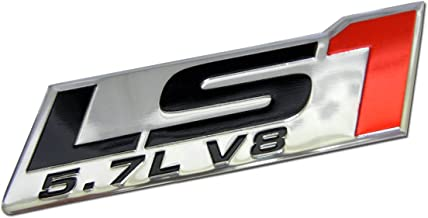 ERPART LS1 5.7L V8 RED Engine Emblems Badges Highly Polished Aluminum Chrome Silver Compatible with Pontiac Trans Am Firebird WS6 Chevy Corvette C5 ZR1 Camaro Holden Special Vehicles HSV