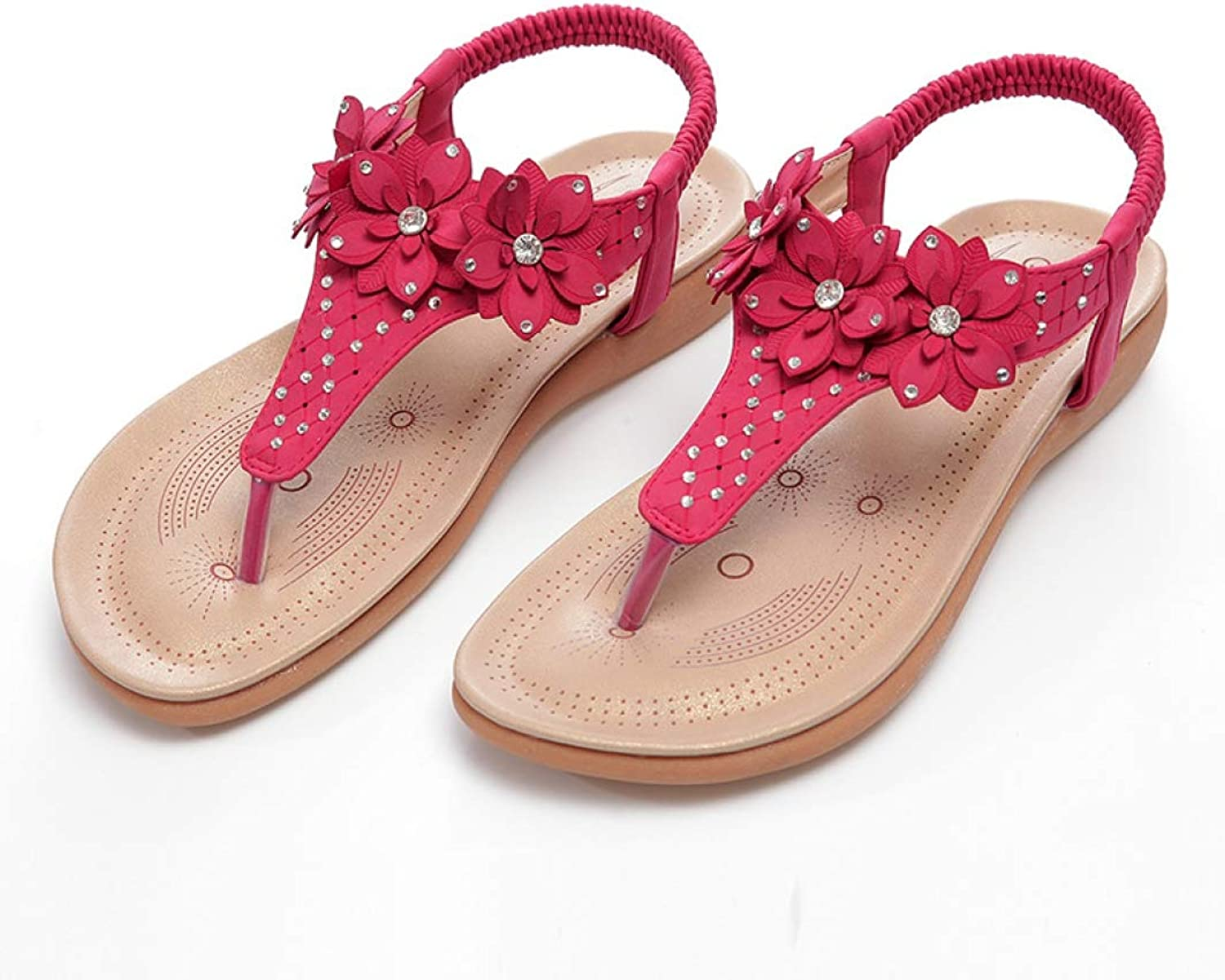 JOYBI Flat Flip Flop Sandals for Women Girls Clip Toe Dainty Rhinestone Flowers Lightweight Soft Comfy Sandals