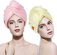 Lovife 2 Pack Hair Towel Wrap Turban Microfiber Head Drying Towels Quick Dry Magic Hat with Button Shower Wrapped Cap Long Curly Hair Anti-Frizz(Yellow and Pink)