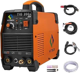 HITBOX TIG Welder 110V 220V 200A TIG Stick MMA IGBT Inverter High Frequency Dual Volatge Welding Machine (Model: TIG200A)