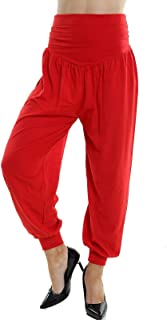 Lakkar Haveli Women's Trouser Pant Indian Girl's Wear Pajama Casual Beach Wear Baggie Solid Red Color Plus Size