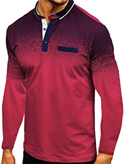 Polo para Hombre Mangas Largas Yvelands Camisas Gradiente Slim Fit Camiseta Golf Ropa Deportiva Poloshirt T-Shirt Oficina ...