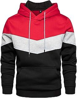 Mens Fleece Hoodie Comfortable Tops Tracksuit Patchowork Hooded Sweatshirts