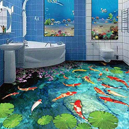 Aangepaste 3D muurschildering klassieke vijvers karper vloer tegels Sticker badkamer keuken PVC waterdichte zelfklevende vloer muur papier 150 x 105 cm.