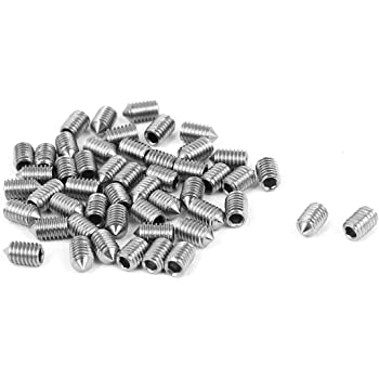 uxcell M6x6mm Hex Socket Set Cone Point Grub Screws 50pcs