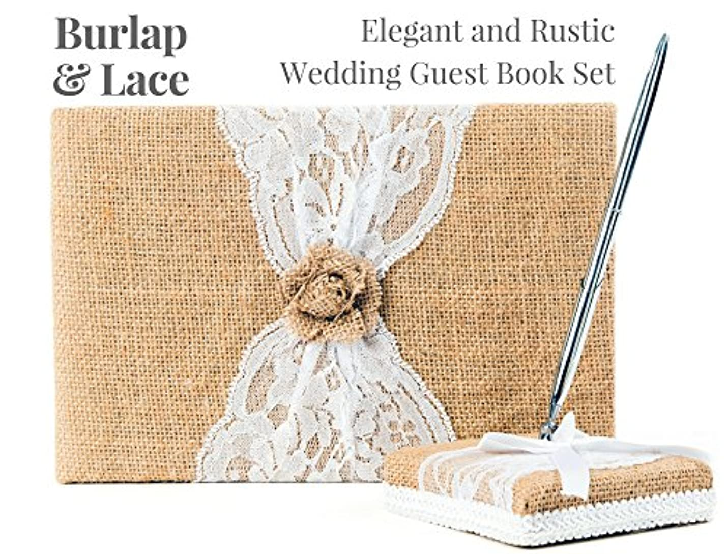 Rustic Wedding Guest Book Made of Burlap and Lace - Includes Burlap Pen Holder and Silver Pen - 120 Lined Pages for Guest Thoughts - Comes in Gift Box (Burlap Flower) nqkrhpidacjbh079