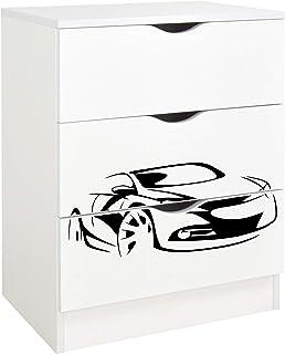 Leomark Commode en bois avec 3 tiroirs - ROMA - meuble pour chambre d'enfant, Meuble de Rangement, hauteur: 78 cm, Impress...
