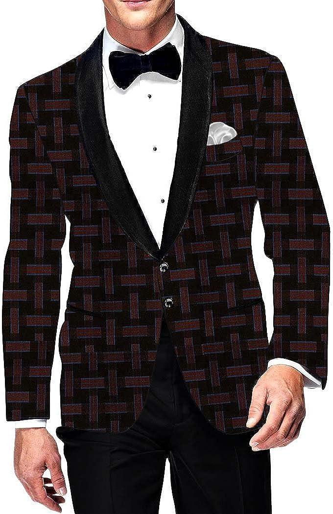 INMONARCH Mens Slim fit Casual Brown and Burgundy Checks Blazer Sport Jacket Coat SB15836XL50 50 X-Long Brown