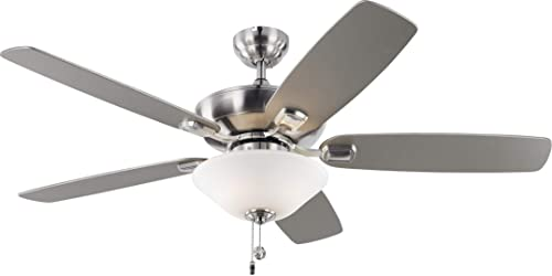"""popular Monte Carlo 5COM52BSD-V1 Colony Max Plus 2021 TSCA Title VI Compliant Flush / Downrod Mount 52"""" Outdoor Ceiling Fan with LED Light wholesale & Pull Chain, 5 Silver Blades, Brushed Steel outlet sale"""