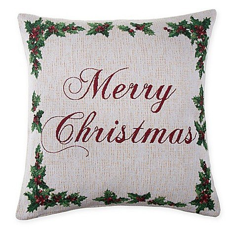 SPENCER N. ENTERPRISES Make Your Own Pillow Holly Script Square Throw Pillow Cover