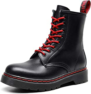 Dr. Martin unisex boots Red lace-up boots high-top thick bottom leather boots black wear-resistant boots eight-hole design ankle boots non-slip wear-resistant short boots (Color : Black, Size : 48)